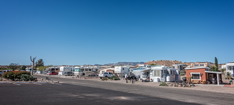 Neighborhood street outside of the laundry room at the escapees RV Park Benson Arizona