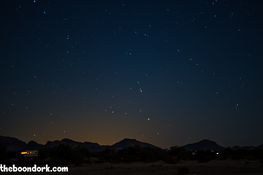 Stars over the boondocks quartzite Arizona