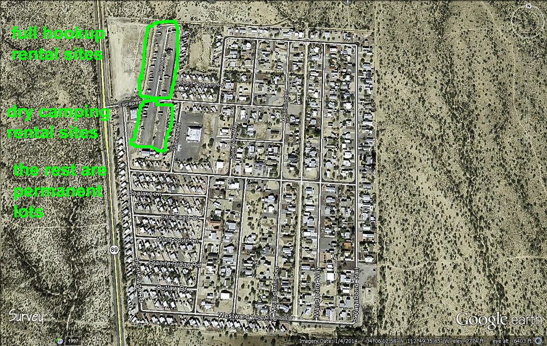 Google Earth picture of escapees RV park Congress Arizona