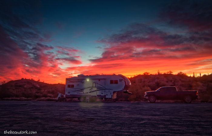 Arctic Fox boondocking sunset