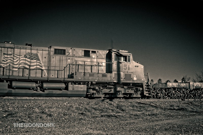 A passing freight train in del Rio Texas