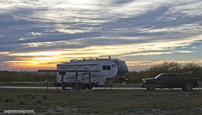 My boondocking site that that at San Pedro boondocking area Amistad NRA Texas