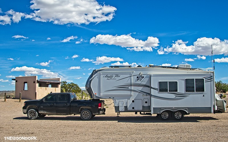 Elephant Butte state Park boondocking site for the Arctic Fox