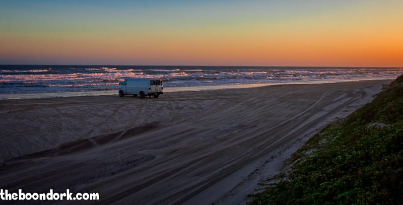 A van enjoying the beach Padre Island Texas