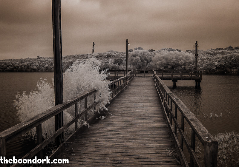 Infrared picture of old wooden fishing pier at Lake Corpus Christi state Park