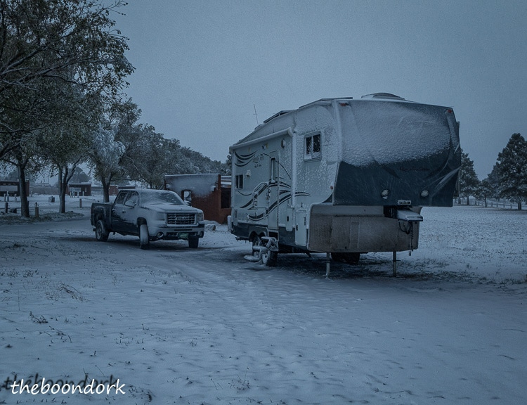 Storrie Lake State Park New Mexico boondocking in the snow