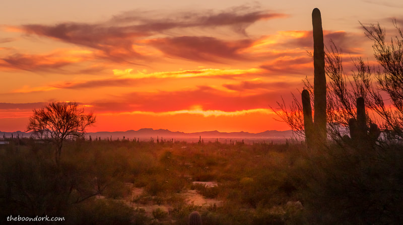 sunset at Picacho Peak State Park.